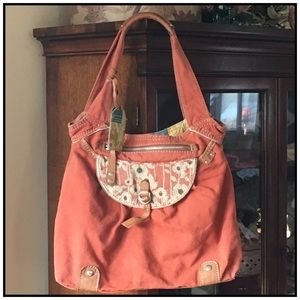 Fossil Canvas and Fabric Hobo Bag